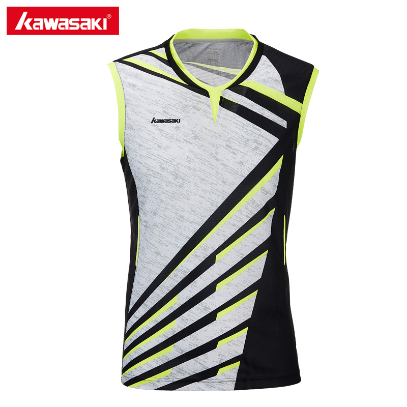 2018 Kawasaki Brand Men Clothes Sports Shirt V-Neck Sleeveless Breathable Badminton Shirt Tennis T-shirts For Male ST-T1014 fostex hp a4
