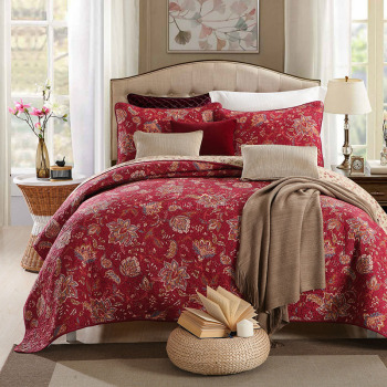 Vintage Print Cotton Bedspread Quilt Set Coverlet 3pcs bedding Quilts Bed Covers Pillowcase*2 King Queen Size Quilted Blanket