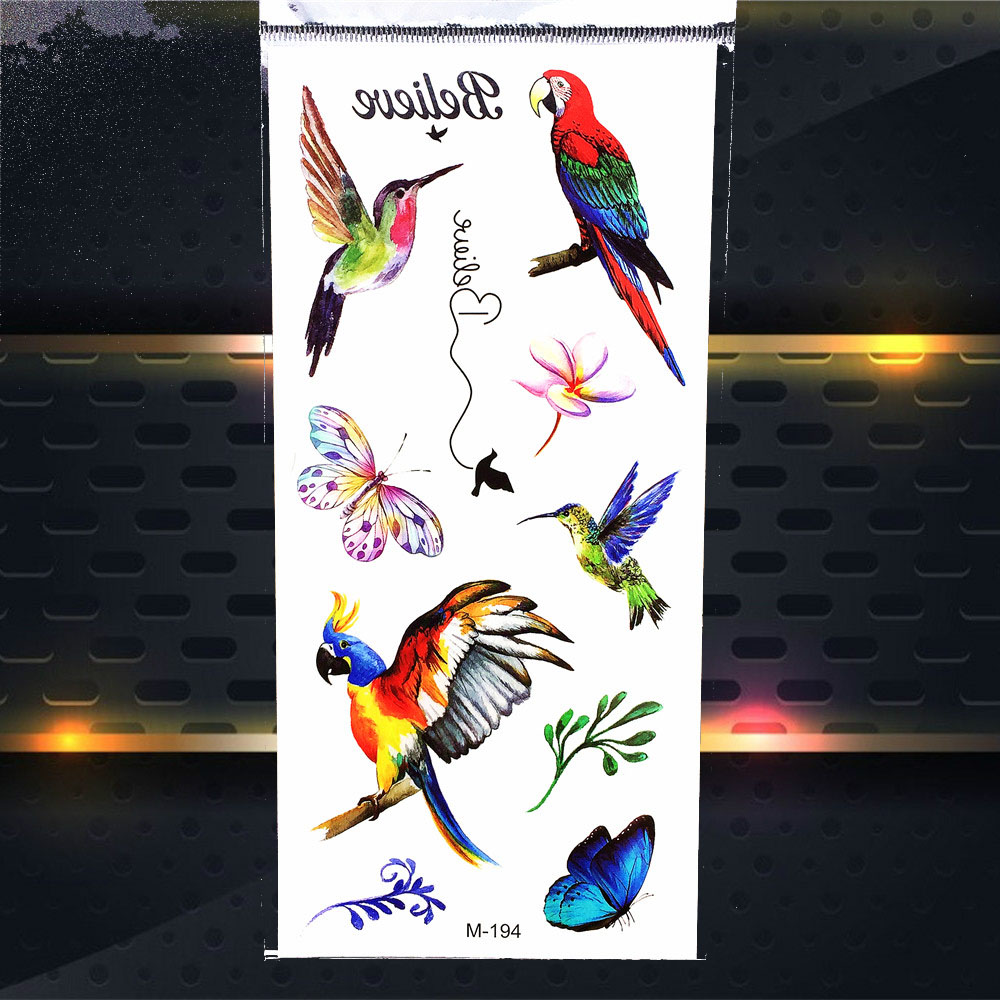 Water Color Hummingbirds Design Temporary Tattoo Stickers Parrot Butterlfy Waterproof Henna Tattoo Women Body Arm Shoulder Legs