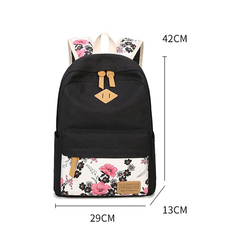 3885a745ab1c Women Canvas High capacity Laptop Backpack Printing Flower School Bags  Pretty Backpacks For Girls Mochila Feminina 3 PCS Set-in Backpacks from  Luggage ...