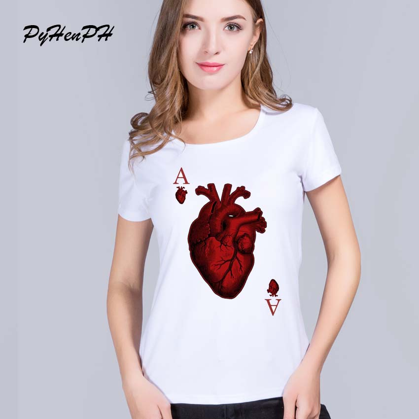 PyHenPH Shirts femininas 2016 New harajuku Heart Poker Pattern Printed t shirts women funny tee shirts Hipster O-neck cool tops