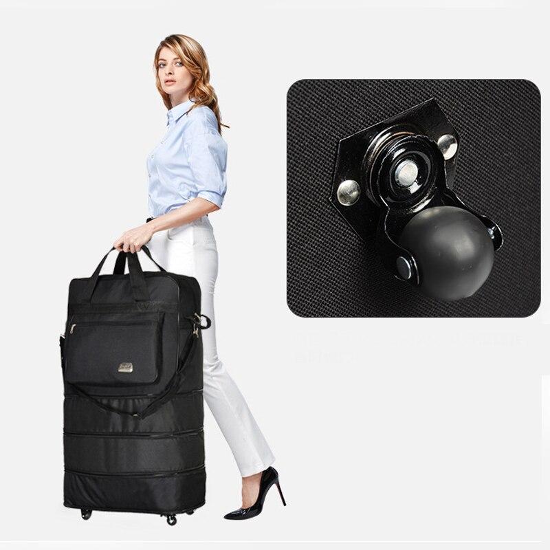Sac de voyage Portable polochon sac à roulettes rouleau d'air extensible sacs à bagages en tissu Oxford avec sacs de nuit de roue nuit