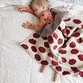 Estilo nórdico Cobertores Do Bebê de Algodão Penteado Tricô Tomates Cereja Padrão de Cama Macia Do Bebê Ar Condicionado Cobertor