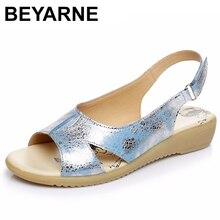 Beyarne verão sandálias de couro genuíno das senhoras confortáveis sapatos gladiador sandália feminino sandálias planas fashionshoee128