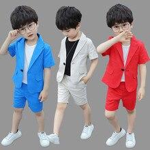 Formal Boys Summer Suit Sets Children Short-sleeved Blazer S
