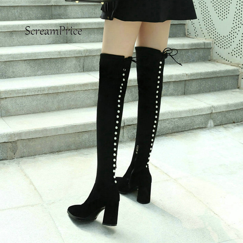 Women Suede String Bead With Side Zipper Over The Keen Boots Fashion Pointed Toe High Heel Winter Elastic Boots Black women faux suede side zipper sexy thin high heel thigh boots fashion pointed toe winter shoes black g