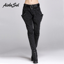 AiobeSol Spring Autumn Women Black Jeans Trousers Female Slim Large Pockets Zipper