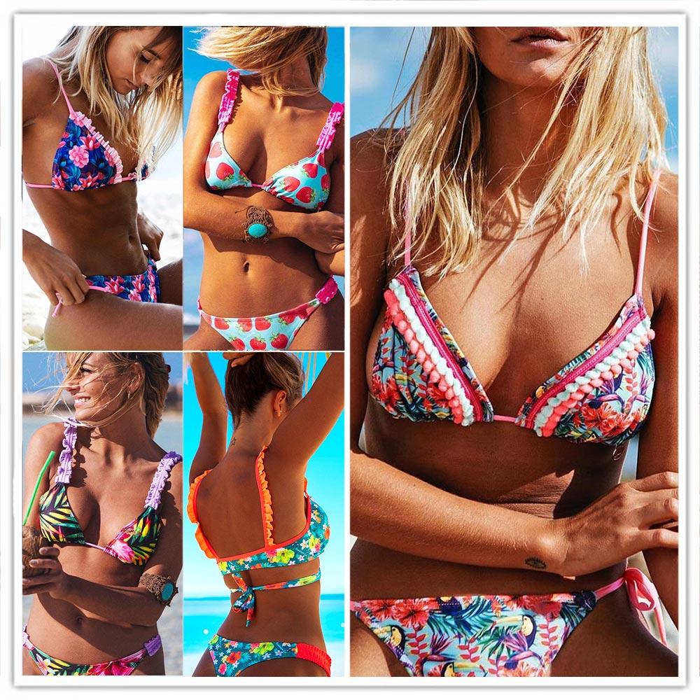 2019 Hot Retro Sexy Women Baddräkt Ruffled Micro Bikini Set Baddräkter Med Halter Strap Baddräkt Brasilianska Botten Biquinis
