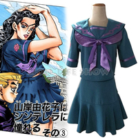 JoJo's Bizarre Adventure Cosplay Costume Yamagishi Yukako Uniforms Women Dresses Sailor Suits JOJO Outfits Full Set Custom