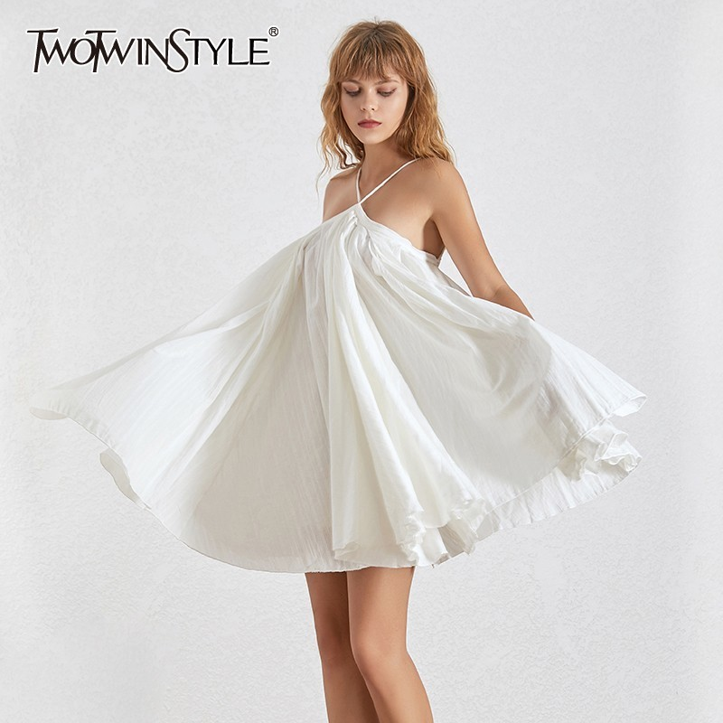 TWOTWINSTYLE Elegant Solid Dress For Women Off Shoulder Backless Bandage Oversized Mini Ball Gown Dresses Female