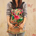 RU y BR Moda Nacional Bordado Viento Étnico Flor Hecha A Mano del Bordado de la Lona de Las Mujeres Mochilas Bolsas de Viaje Hombros Bolsas