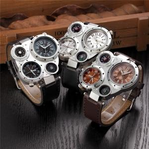 Image 3 - Oulm Horloge Top Merk Mannen Horloges Kompas Decoratie Twee Tijdzone Klok Lederen Mannen Casual Horloges Relogio Masculino