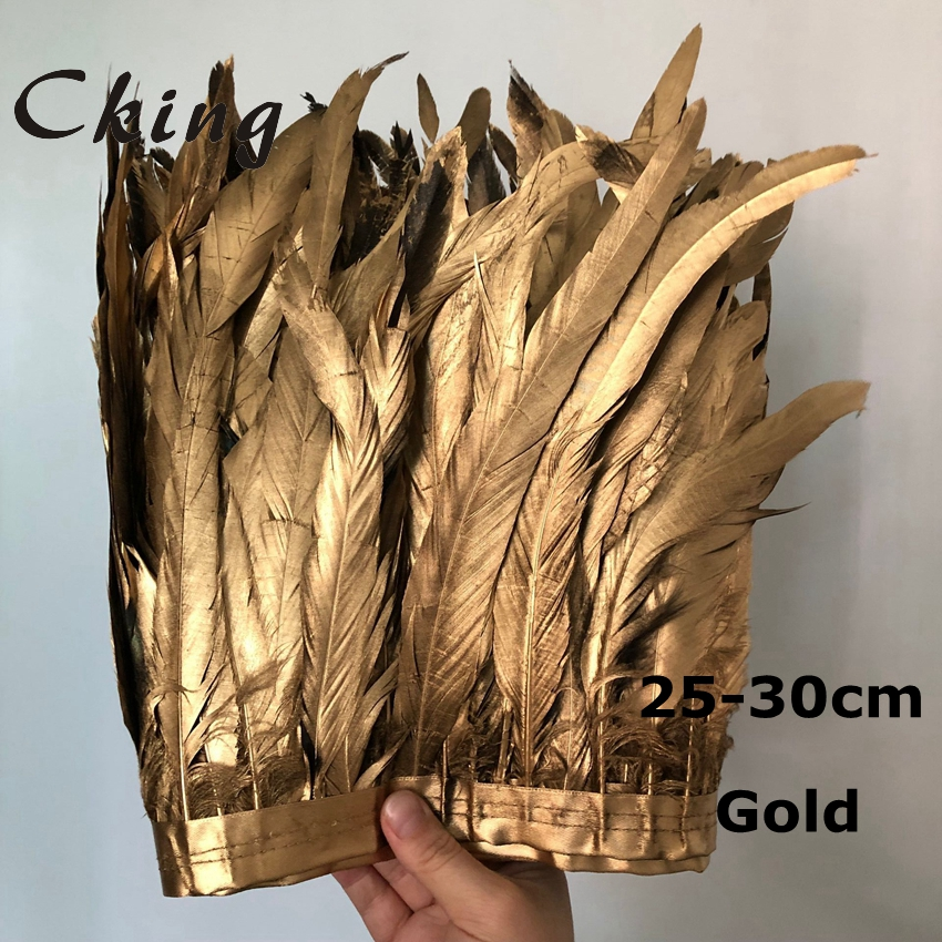 1 Meter 25-30cm Gold Rooster Tail Trim Coque Feather Trimming/Ribbon For Crafts Dress Skirt Carnival Costumes Plumes 10-12inches