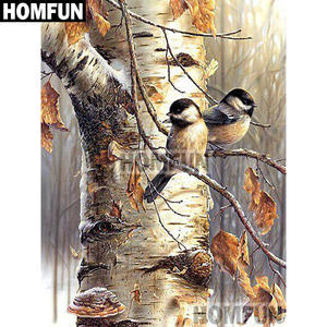HOMFUN Full SquareRound Drill 5D DIY Diamond Painting Autumn bird Embroidery Cross Stitch 5D Home Decor Gift A02063