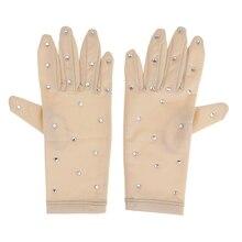 Эластичные женские перчатки для фигурного катания на коньках, стразы, перчатки для соревнований, выступлений, катания на коньках