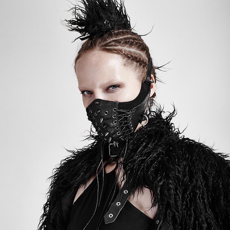 Punk Rave Women's Goth Rivets Faux Leather Masks S-182F