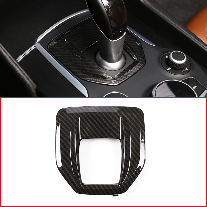 Carbon Fiber For Alfa Romeo Giulia Stelvio 2017 ABS Plastic Interior Center Console Gear Shift Panel Cover Trim Replacement Part interior for chevrolet camaro 2016 2017 abs carbon fiber style transmission shift gear panel cover trim 1 piece page 1