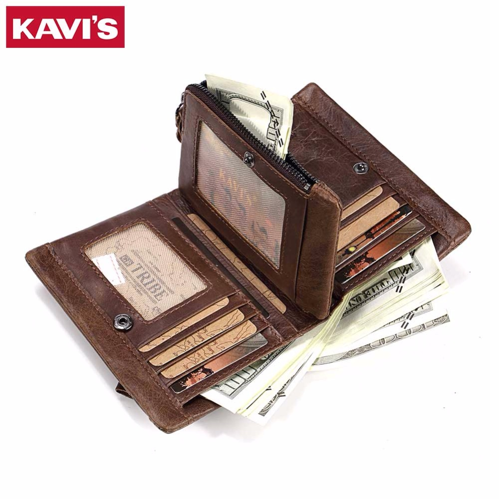 KAVIS Genuine Leather Wallet Men Coin Purse with Card Holder Male Vallet Money Bag Portomonee Small Walet PORTFOLIO for Perse joyir vintage men genuine leather wallet short small wallet male slim purse mini wallet coin purse money credit card holder 523
