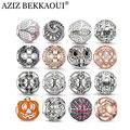 AZIZ crystal loose beads fit for pandora original bracelet luxury flower beads big hole owl charms brand fashion women jewelry