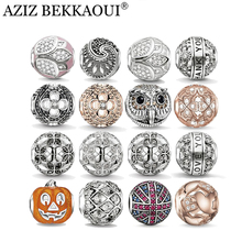 AZIZ crystal loose beads fit for DIY original bracelet luxury flower beads big hole owl charms brand fashion women jewelry