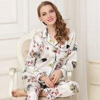 women 100% silk pajama set 2019 springWomen 100% Silk Sleepwear Long Sleeve 2 Piece Sets Silk Pajama Flower print Lady Pajamas