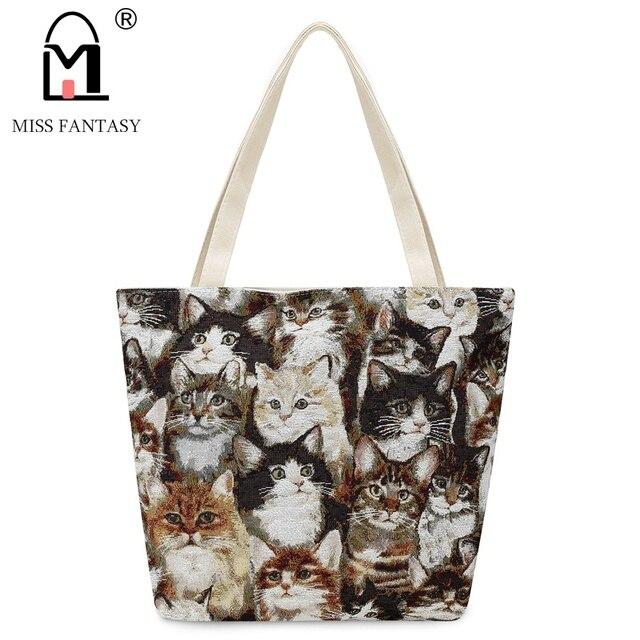 c4c576018f Women Bag Women s Canvas Bag Female Casual Beach Bag New Designer With Lovely  Cat Embroidery Handbags Women Famous Brands Good