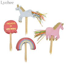 Lychee 24pcs/set Unicorn Rainbow Cake Topper Wedding Birthday Party Baby Shower Dessert Baking Cake Decorating Supplies