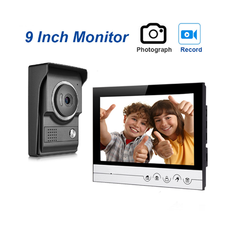 9''Inch Wired Video Doorphone Intercom Doorbell Kits With Dual-way Intercom And IR Night Vision Camera For Private Home