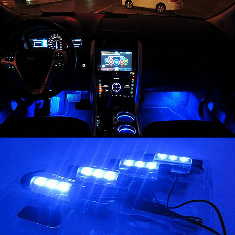 4x 3led blue car charge interior accessories foot car decorative 4in1 lights car interior. Black Bedroom Furniture Sets. Home Design Ideas