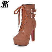 J K 2017 Big Size New Arrive Ankle Boots Women Cool Rivet Buckle Strap Motorcycle High
