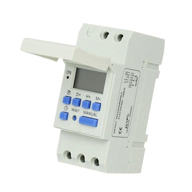 Envío libre CE DIN RAIL DIGITAL 16 sets temporizador programable interruptor AC 220 V/110 V, DC 12 V 16A 25A buena temporizador carril Din