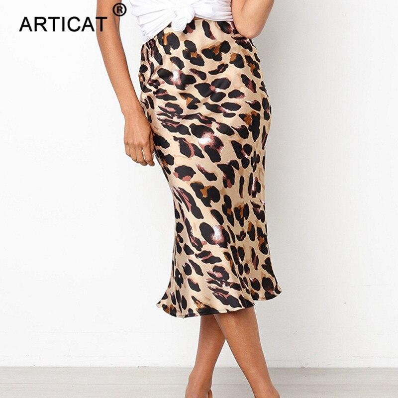 Articat Boho Beach Bodycon Leopard Skirt Sexy High Waist Chiffon Long Skirts Womens Casual Loose Party Maxi Skirt Faldas Mujer