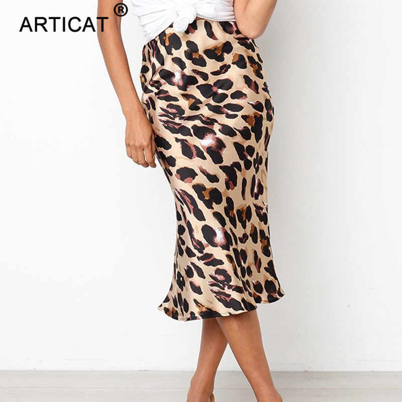 Articat Boho playa Bodycon leopardo falda Sexy alta cintura gasa Faldas largas Mujer Casual suelta fiesta Maxi Falda Mujer