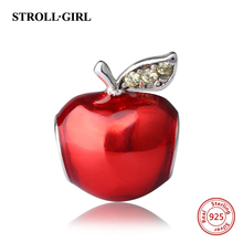 New Collection Silver 925 Beads Red Enamel Apple Charms Beads Fit European pandora Bracelets For Jewelry Making Christmas Gifts(China)