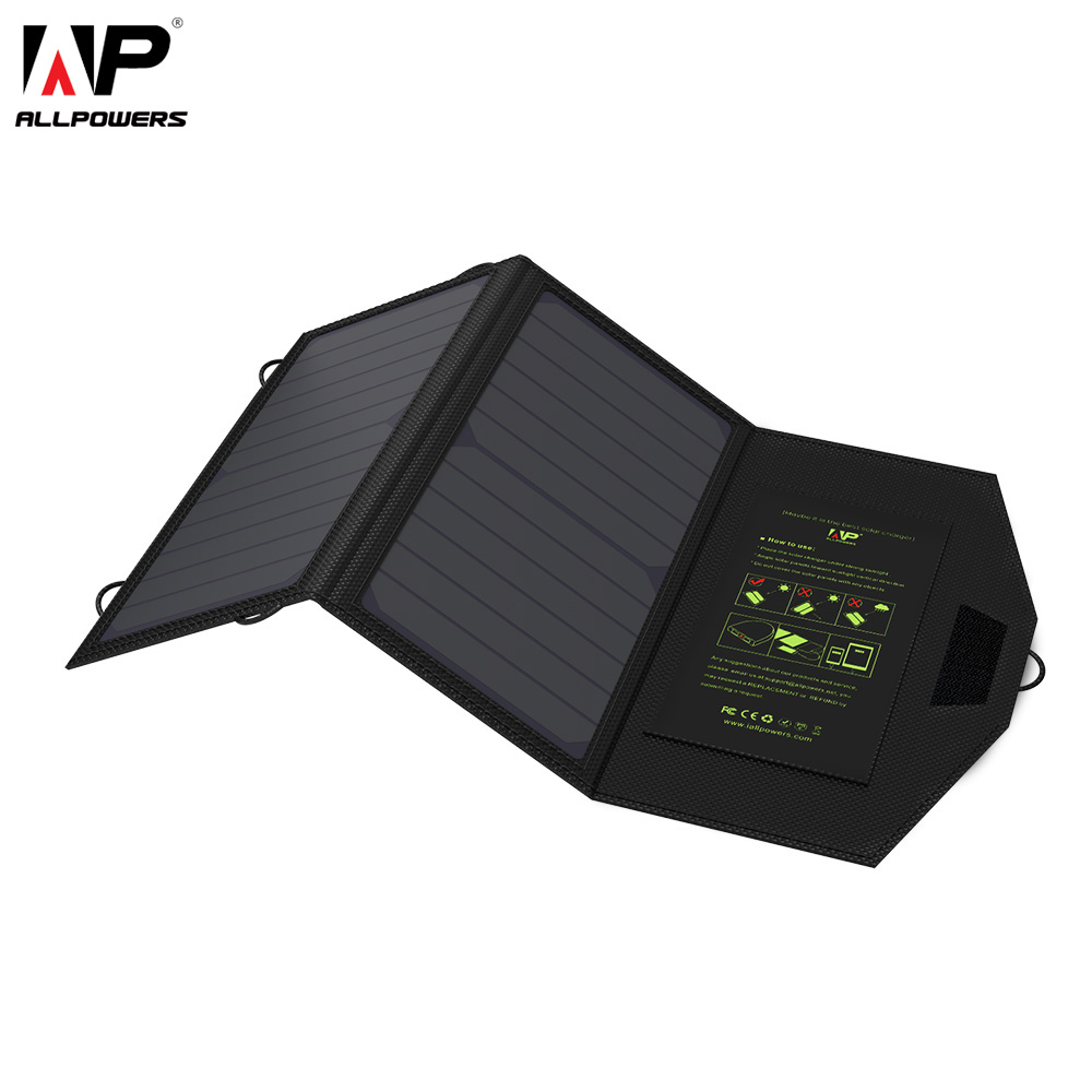 ALLPOWERS 14W Mobile Phone Charger Dual USB 5V 2A Solar Panel Waterproof Solar Charger for Smartphones