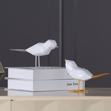 Abstract Geometric Origami White Bird Statue Resin Animal Sculpture Desktop Crafts Home Decoration Accessories Figurine Gift 115