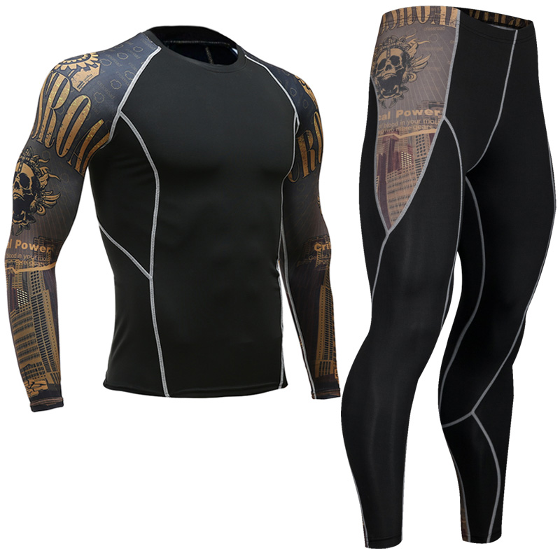 Mma Rashgard Long Sleeve Fitness Set Tights Men's Compression Elasticity Quick Dry Breath T-Shirt Tactical Men's T-Shirt XXXL