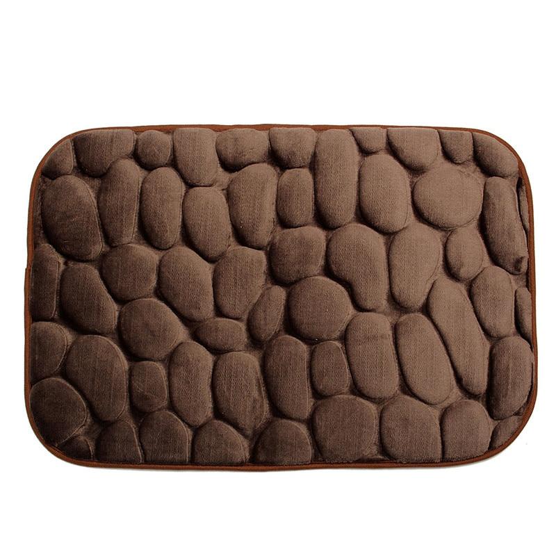 Simple Beautiful Grey Memory Foam Pebble Rock Bath Rug 60x40cm Non Slip Microfiber  Bath Mat