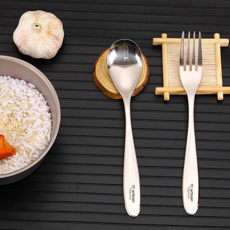Tiartisan 純チタンスプーンフォークカトラリーセット軽量ディナーカトラリー屋外ピクニック食器ポリッシュスプーンフォーク Ta8118P