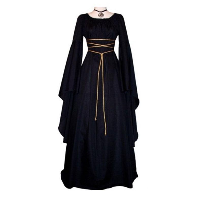 Women 2018 Fashion Long Sleeve Dress Medieval Renaissance Vintage Bandage Lady Peasant Dresses Renaissance Vampire Costume