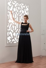free shipping 2014 hot sale cara delevingne new design custom color/size beading evening gown black long plus size dress