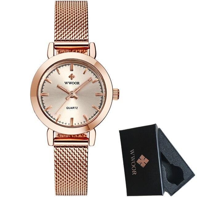 251d33d2050 Marca de luxo wwoor mulheres relógios lady moda vestido de negócios relógio  de quartzo mulheres pulseira de malha de aço relógio de pulso relogio ...