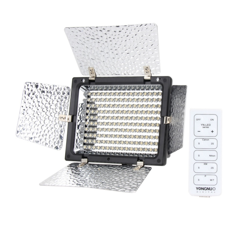 For Yongnuo YN-160 II LED Video Light Lamp with Condenser MIC for Canon Nikon Pentax Camera DV Camcorder + IR Remote Control godox led 308y 308 leds professional led video 3300k light with remote control for canon nikon camera dv camcorder