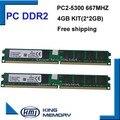 Лучшая цена DDR2 4 ГБ kit (2 * DDR2 2 ГБ) 667 МГЦ PC5300 LONGDIMM 8 бит работы для всех intel и AMD материнской платы
