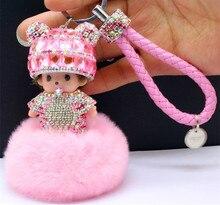 2016 nouveau Monchichi porte-clés 8 cm réel lapin fourrure pom pom cristal Monchichi Poupées pompon porte-clés dame sac de voiture pendentif en gros