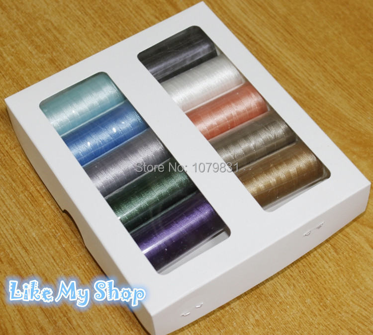 Высокая прочность 150D/3 полиэфирной нити швейных ниток бисероплетения, пряжа для вязания крючком 10 разных цветов