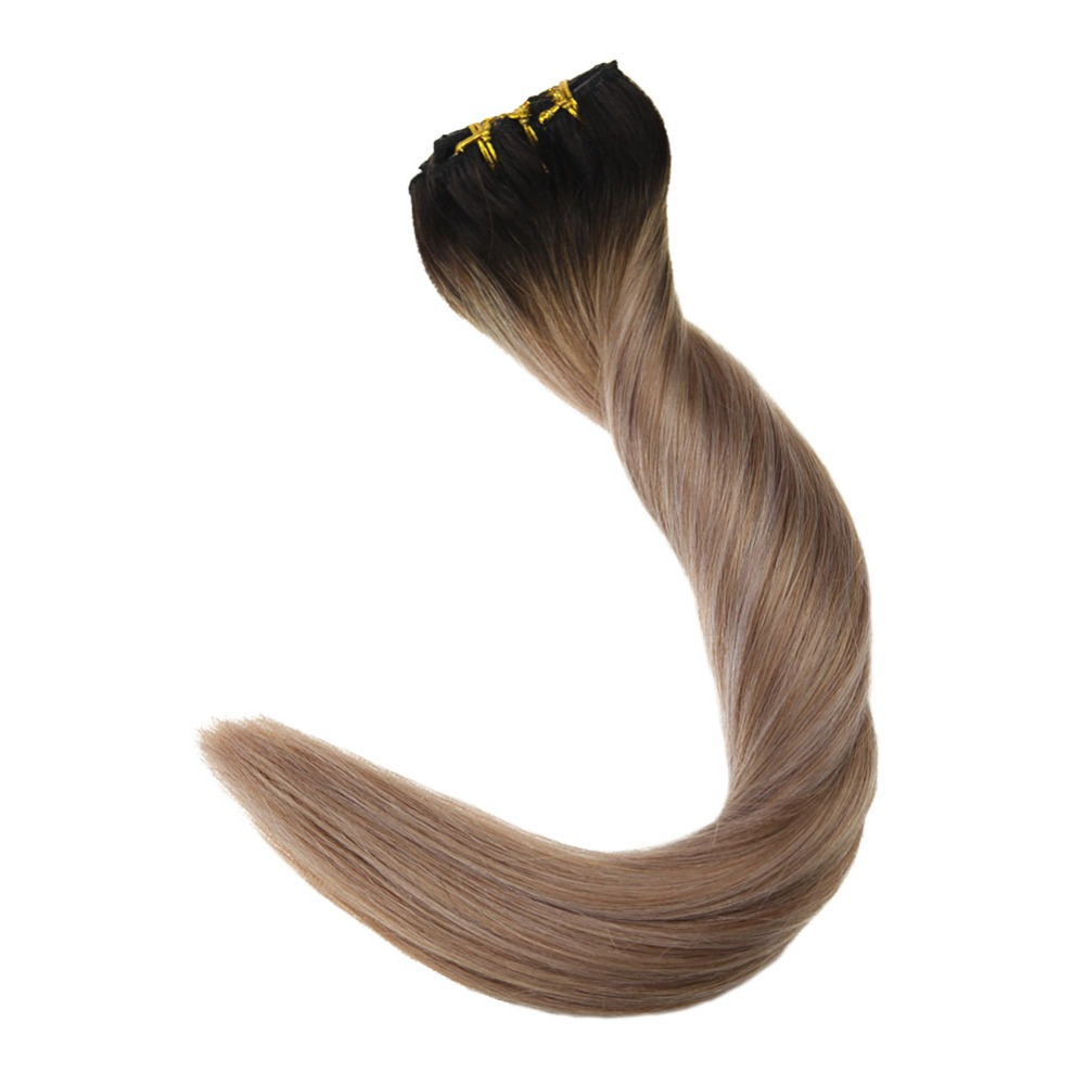Lowest Price Ever!!! Full Shine Remy Clip In Balayage Hair Extensions 7Pcs 100g Color #1B/12/18 Hair Extensions Clips In Hair