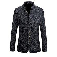 Фирменные мужские винтажные блейзеры в китайском стиле, деловые пиджаки, повседневные Пиджаки с стоячим воротником, Мужские приталенные пиджаки