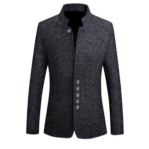 Jackets Male Blazer Suit Business-Dress Collar Slim-Fit Casual-Stand Chinese-Style Vintage