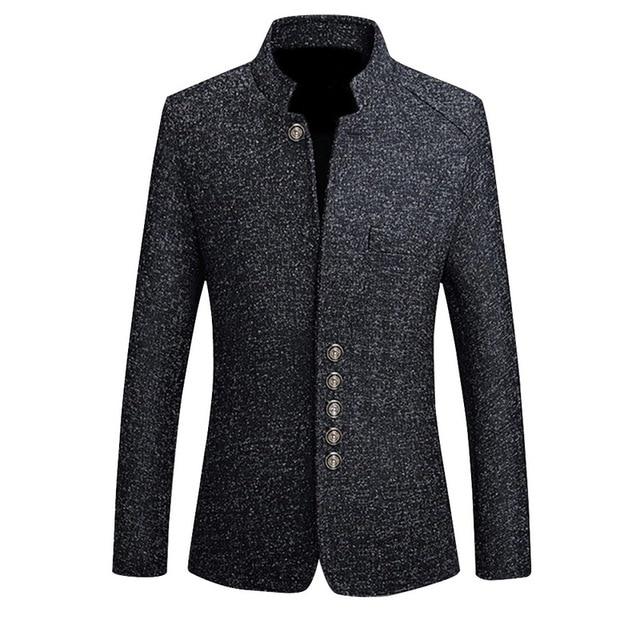 2019 מותג Mens בציר בלייזר מעילי סיני סגנון עסקי שמלת טרייל מקרית צווארון עומד מעילי זכר Slim חליפת מעיל